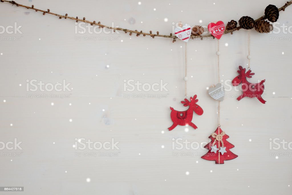 Christmas Garland With Red Wooden Deer Hearts