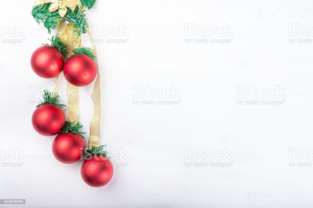 Christmas garland with toys red balls on white background stock photo