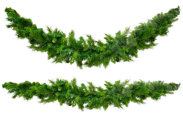 christmas garlands - christmas green stock photos and pictures