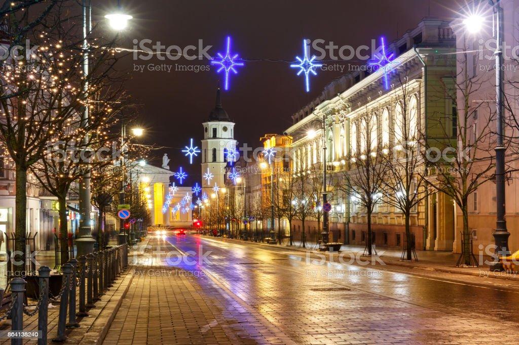 Christmas Gediminas prospect, Vilnius, Lithuania royalty-free stock photo