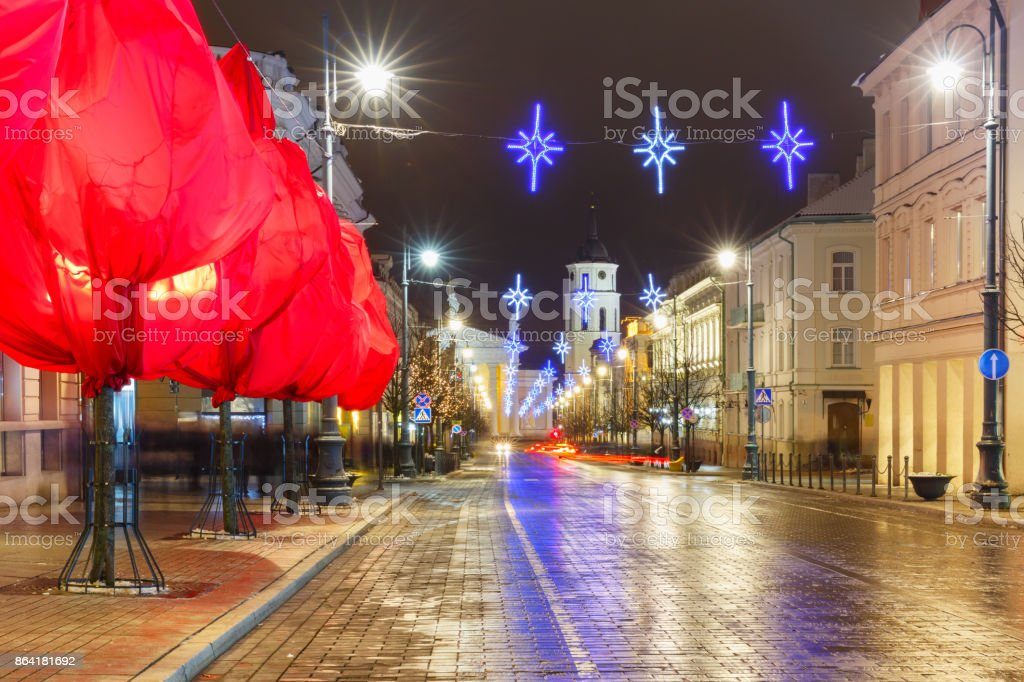 Christmas Gediminas prospect, Vilnius, Lithuania royalty-free stock photo