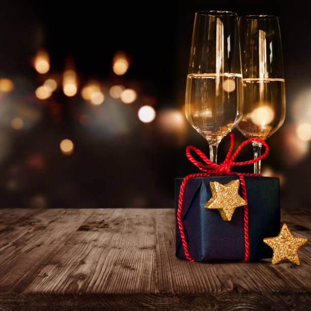 Christmas gift and champagne stock photo