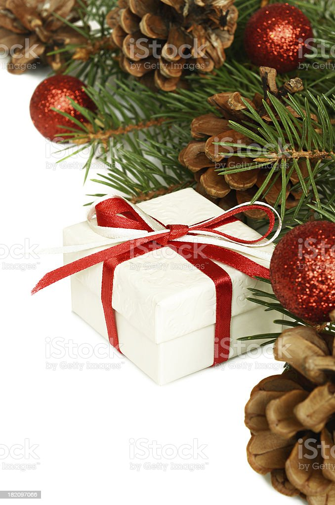 Christmas gift and holiday decorations royalty-free stock photo