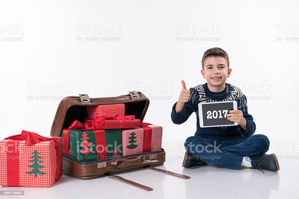 Christmas gift and little man stock photo