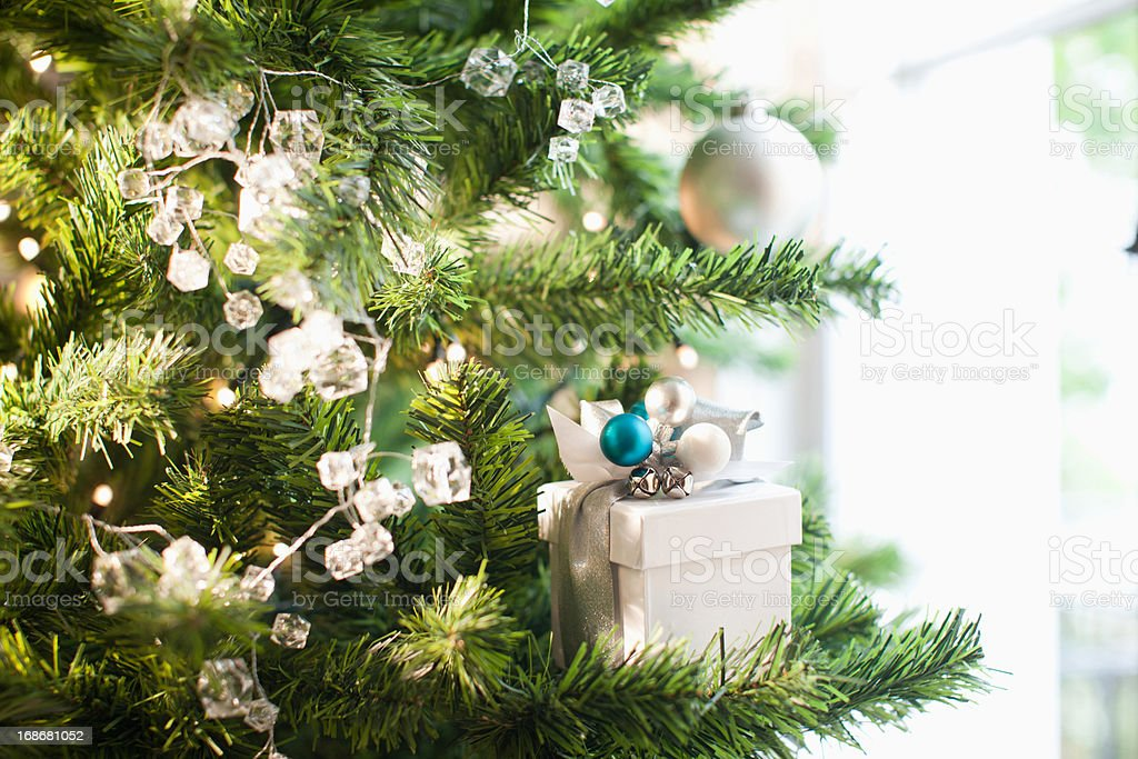 Christmas gift and ornaments on tree royalty-free stock photo