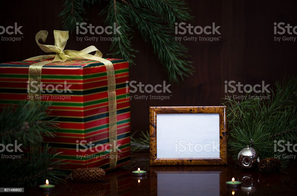 Christmas gift and photo frame. foto stock royalty-free