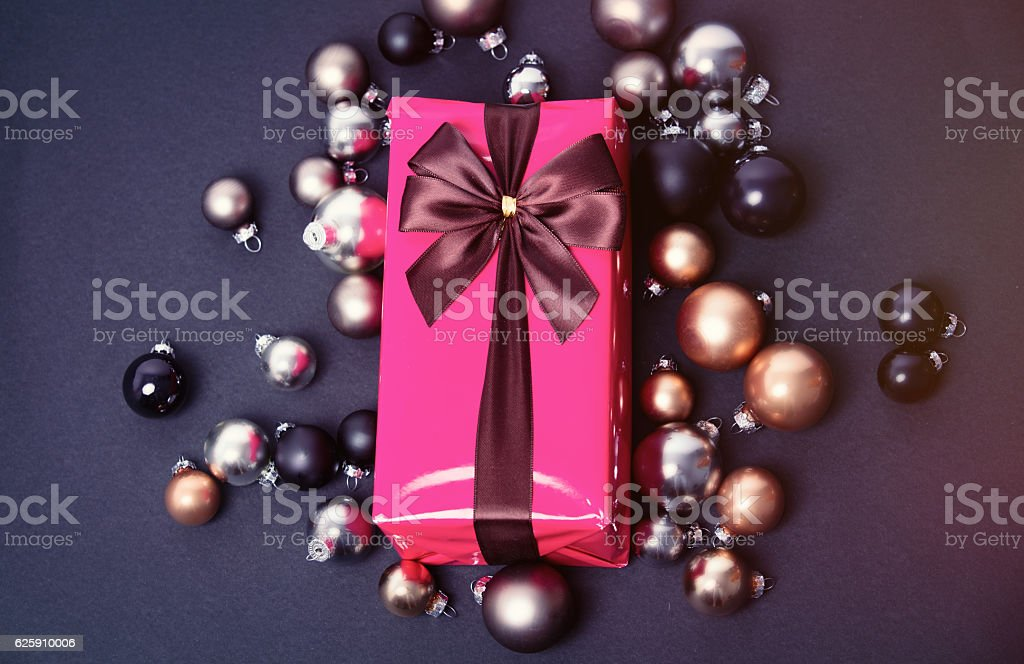 Christmas gift and syle baubles stock photo