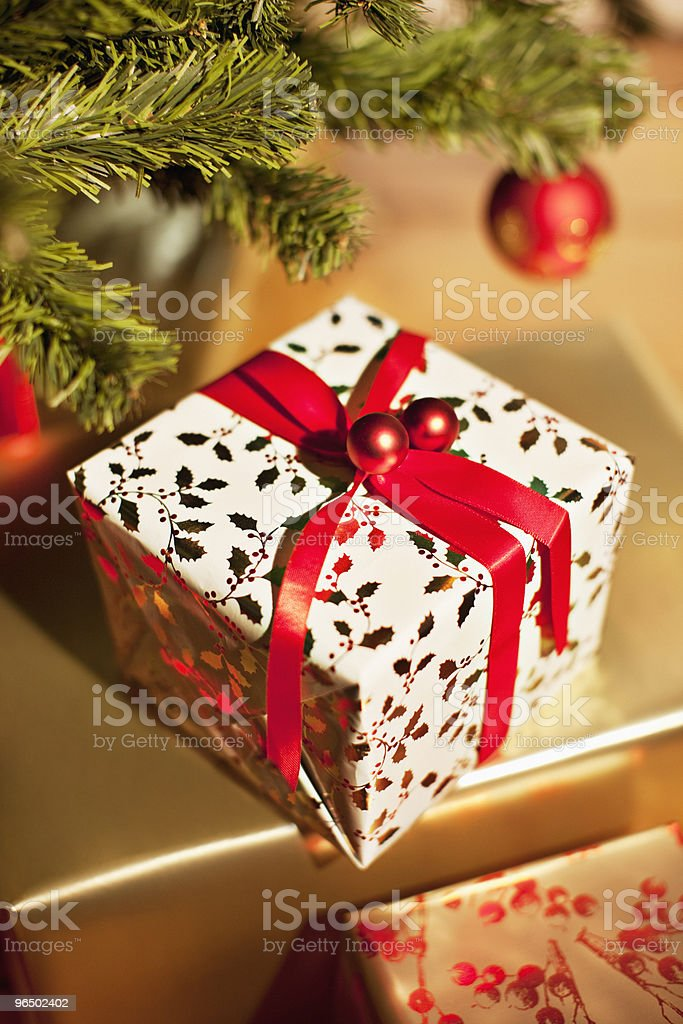 Christmas gift beneath tree royalty-free stock photo