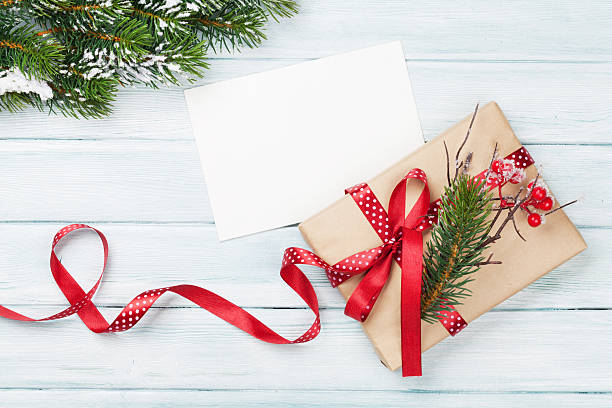 christmas gift box and greeting card - pinaceae stock photos and pictures