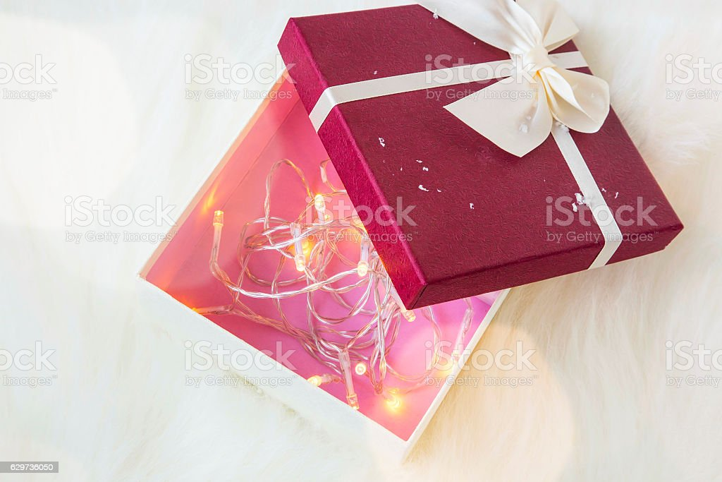 Decorated Gift Boxes Pleasing Christmas Gift Box Decorated With Tree Lights Inside Stock Photo Inspiration