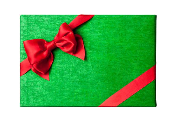 Christmas gift box lid top view. stock photo
