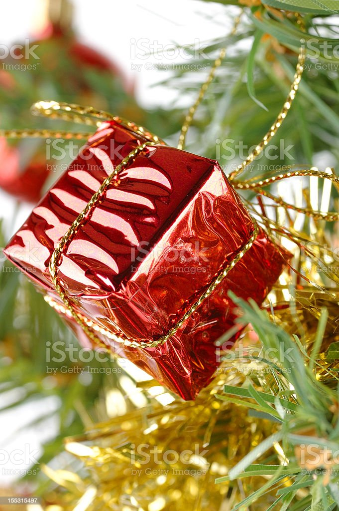 Christmas Gift Box on Tree royalty-free stock photo