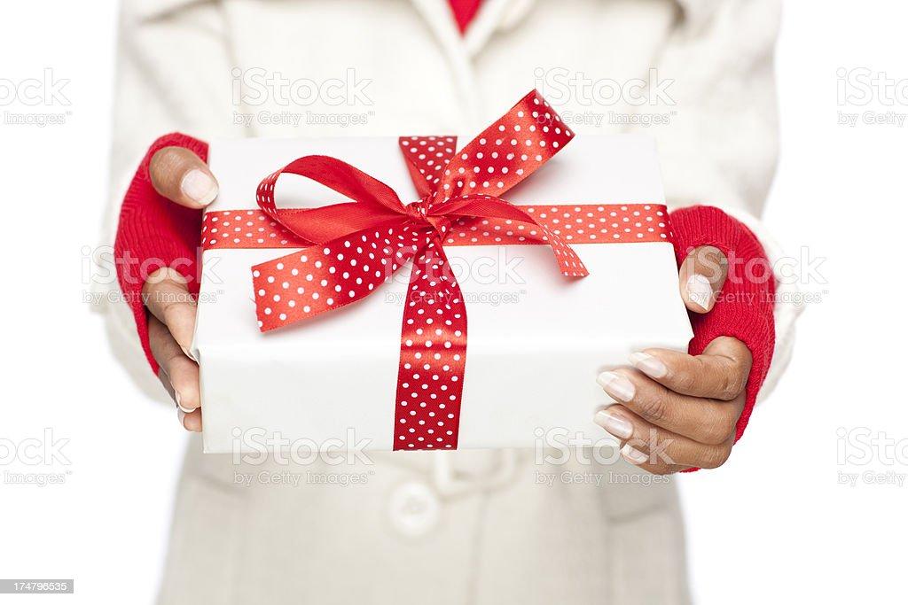 Christmas gift box. stock photo