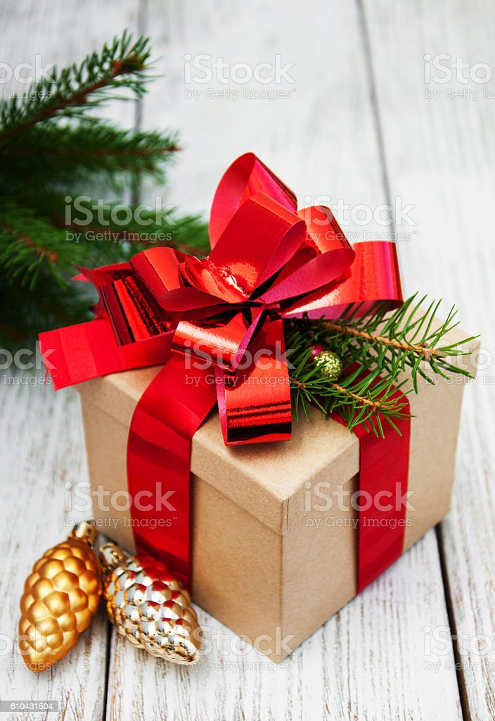 christmas gift box with decorations royalty free stock photo