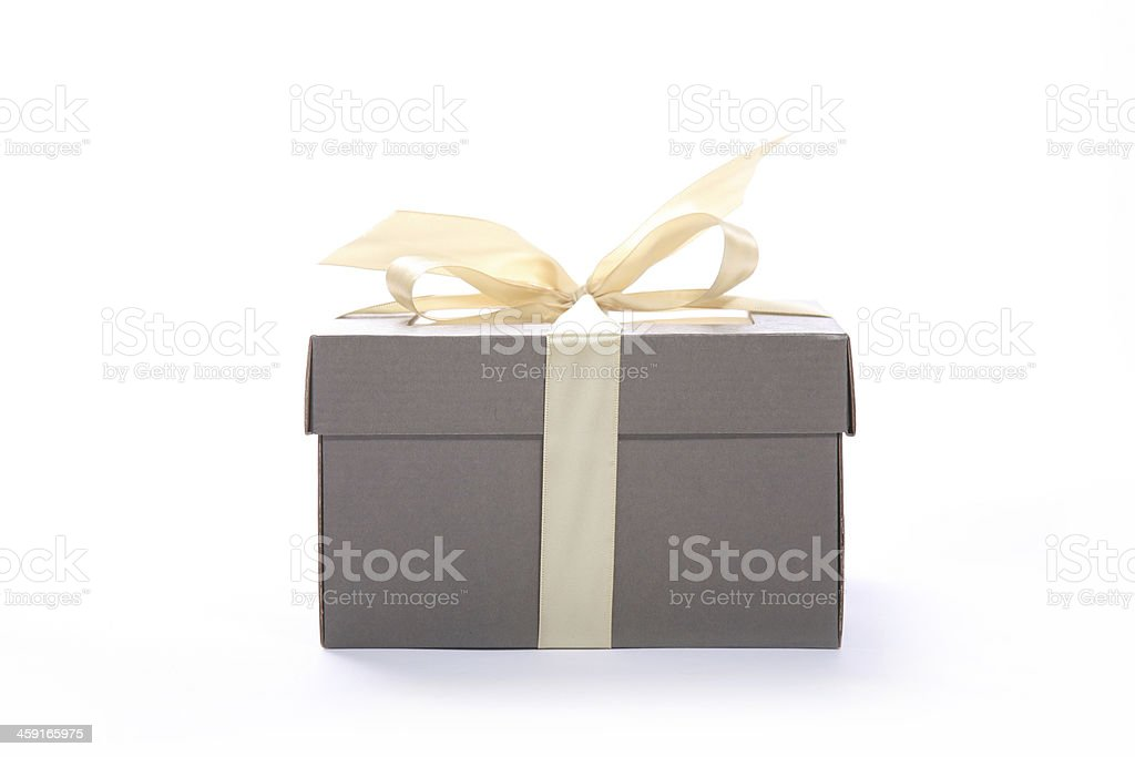 Christmas gift box with golden satin ribbon stock photo
