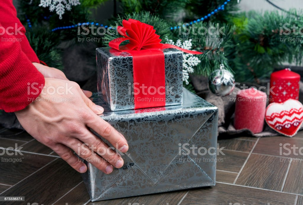 Christmas gift box with ribbon stock photo
