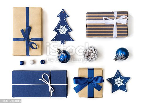 Christmas gift boxes and baubles collection in blue for mock up template design. View from above. Flat lay mock up
