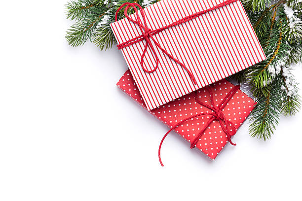 Scatole regalo di Natale e Abete - foto stock
