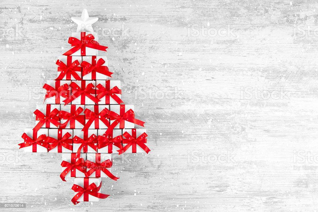 Christmas Gift Boxes Aranged in Tree Shape photo libre de droits