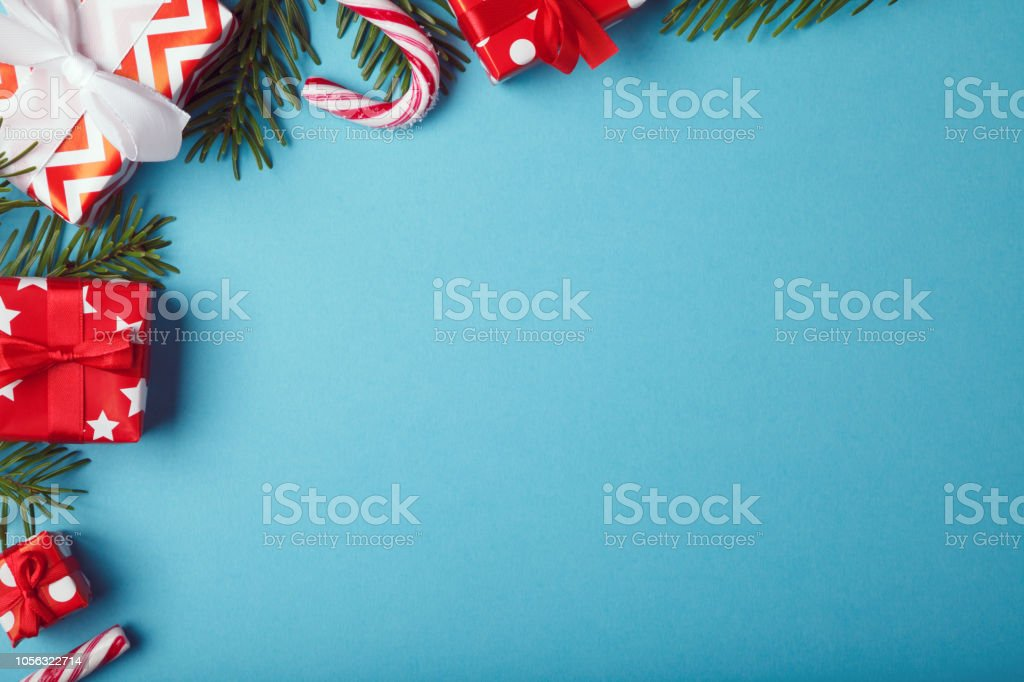 Christmas gift boxes background with christmas decoration stock photo