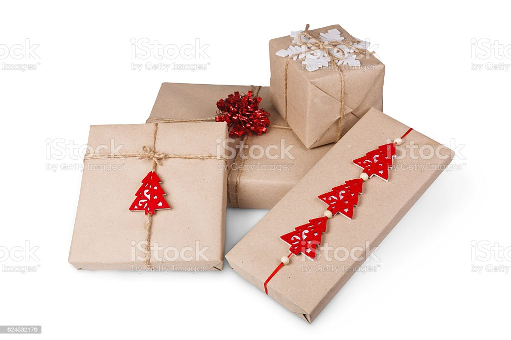 Christmas gift boxes in craft paper isolated on white stock photo