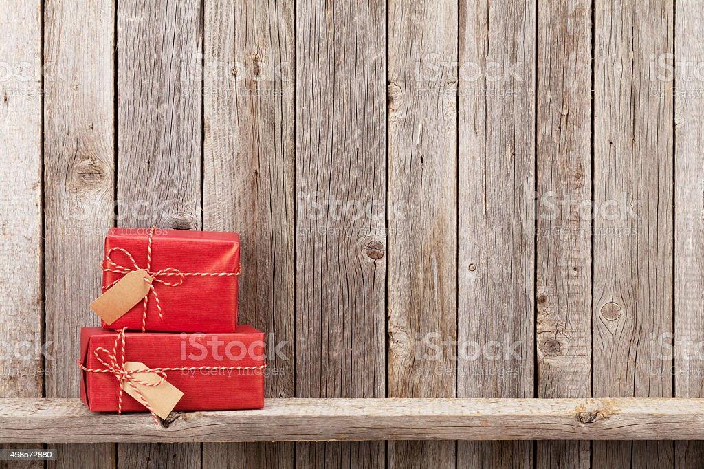 Christmas gift boxes stock photo