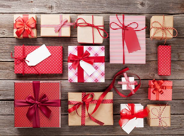 christmas gift boxes - wrapping paper stock photos and pictures
