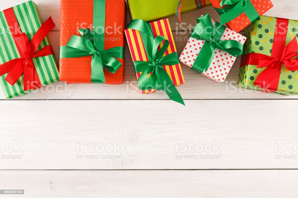 Christmas Gift Boxes.Christmas Gift Boxes Top View On Wood Table Background Stock Photo Download Image Now