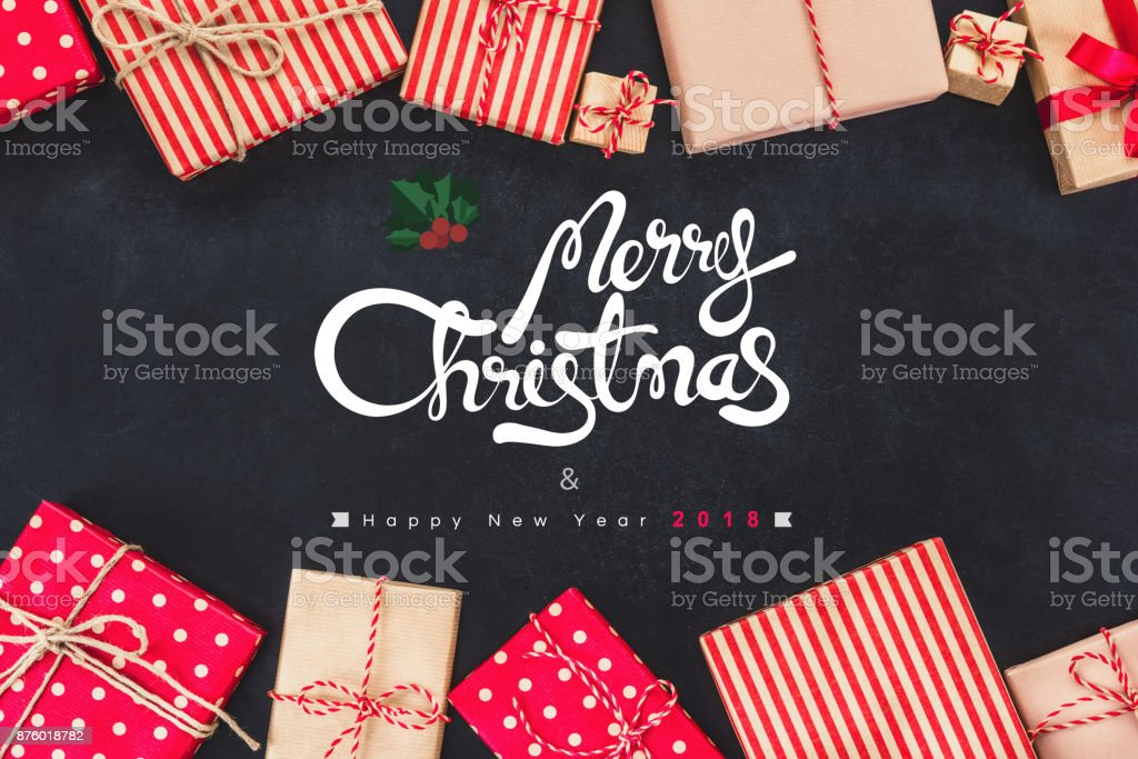 Christmas Gift Boxess On Black Background With New Year Wishes 2018 Stock Photo Download Image Now Istock