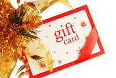 Christmas Gift Card - self designed and then clicked. Focus more on text. Isolated over white.
