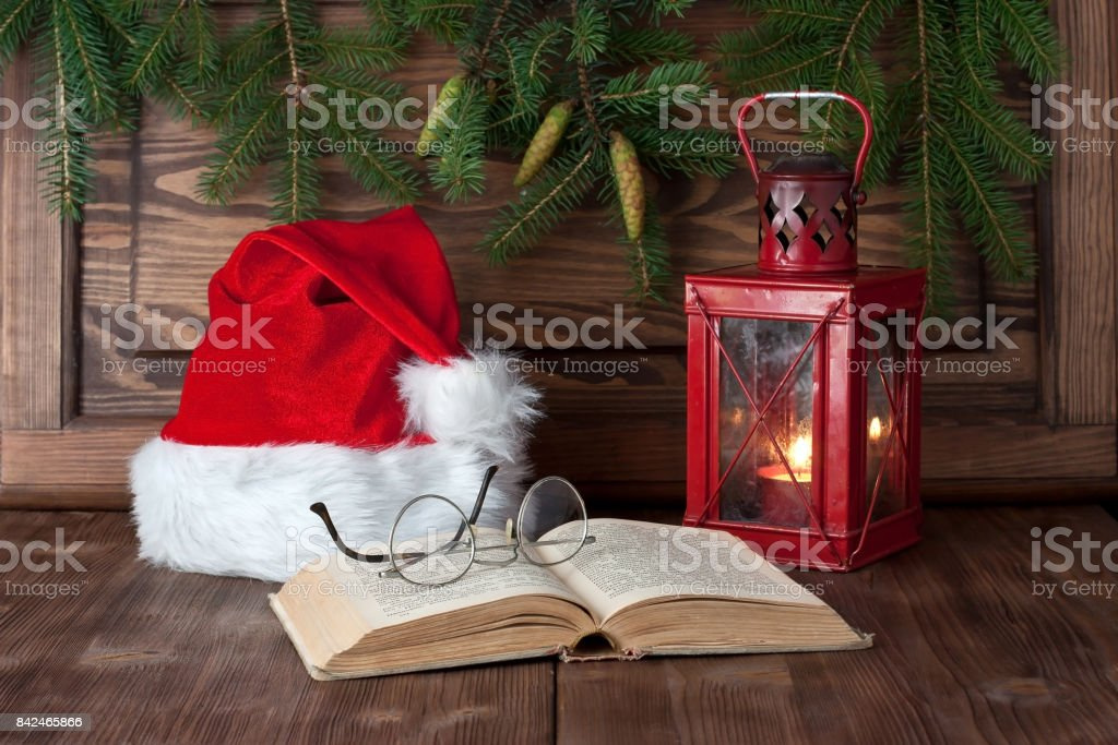 Christmas gift card with holiday composition stock photo