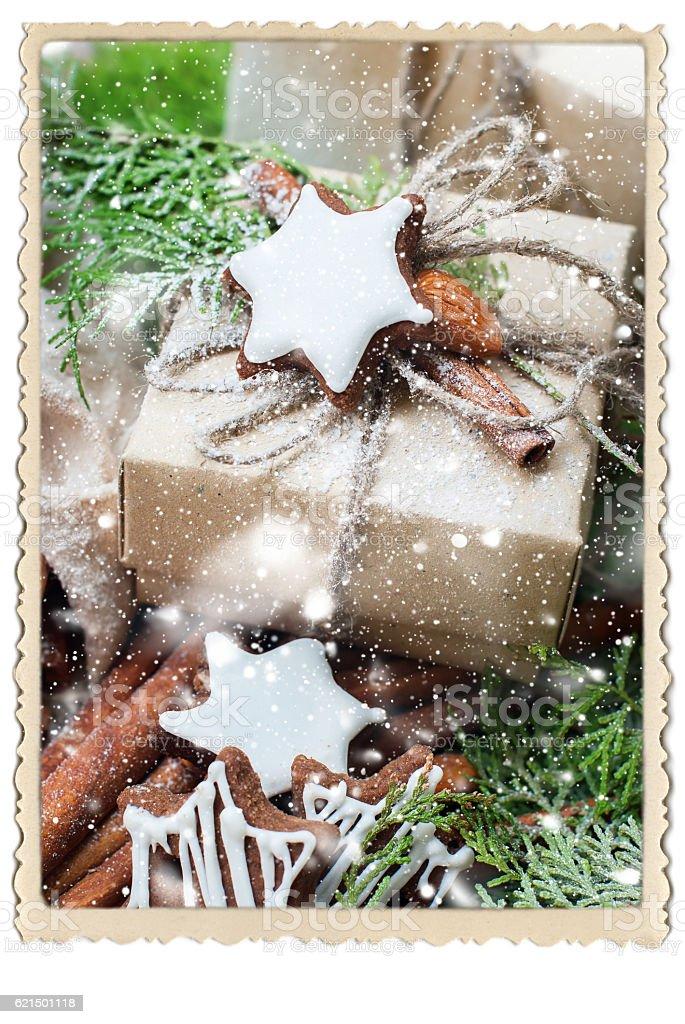 Christmas Gift Cinnamon Cookies Photo Frame Lizenzfreies stock-foto