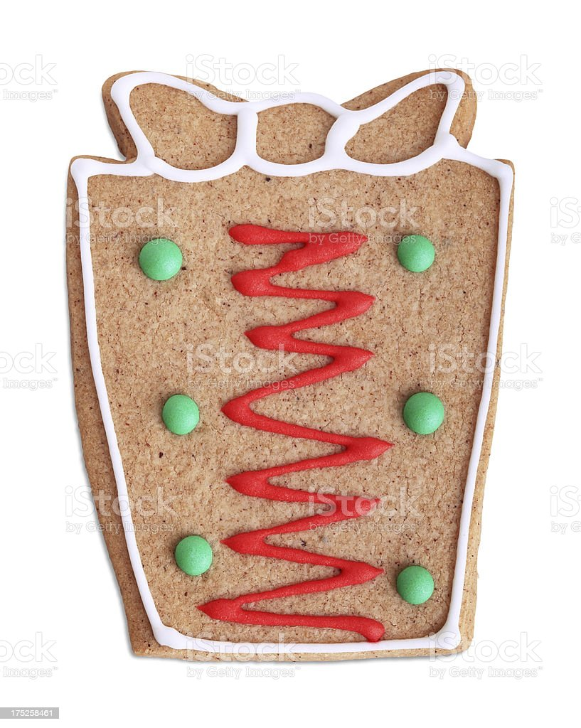 Christmas Gift Cookie (Clipping Path) royalty-free stock photo