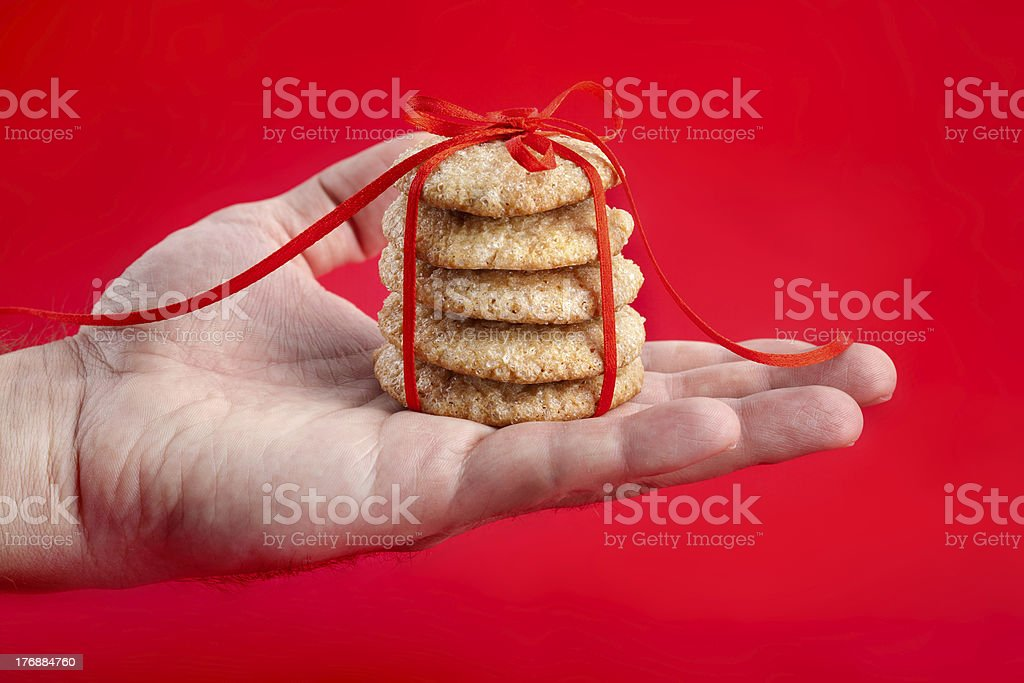 Christmas gift - gingerbread cookies royalty-free stock photo