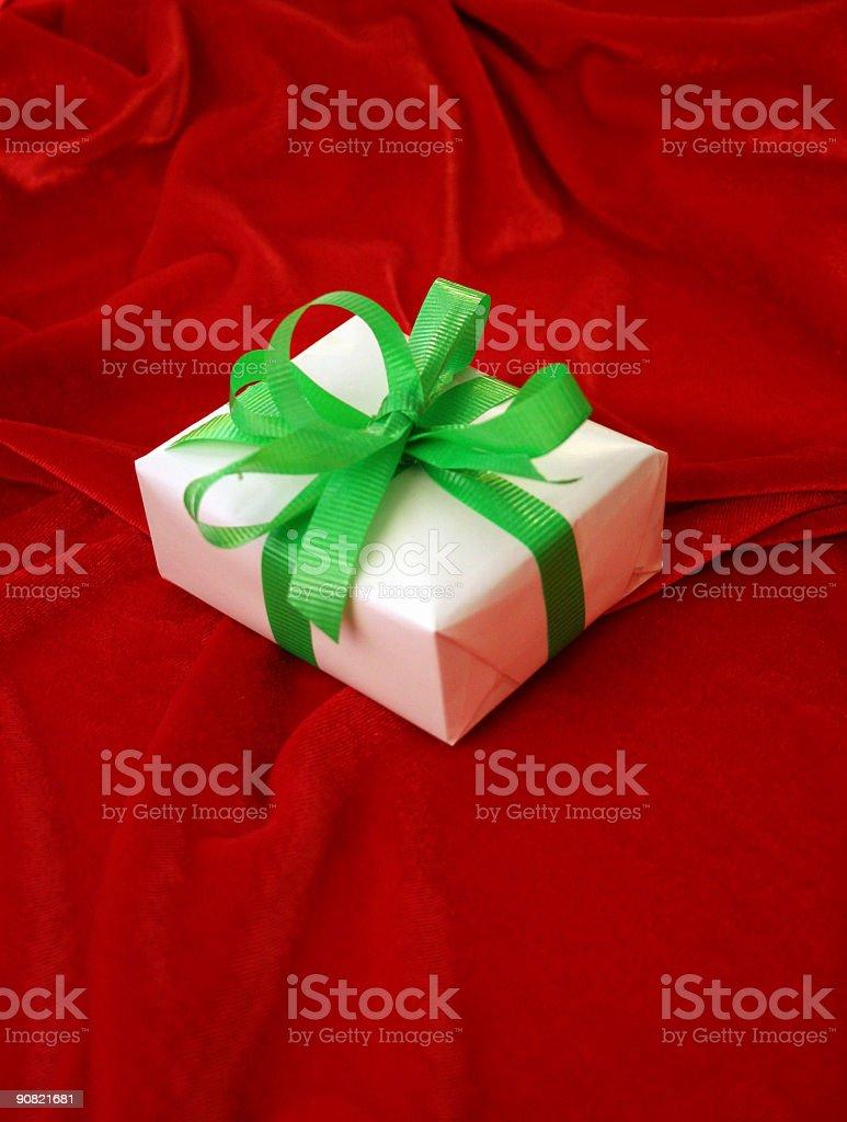 christmas gift on velvet royalty-free stock photo