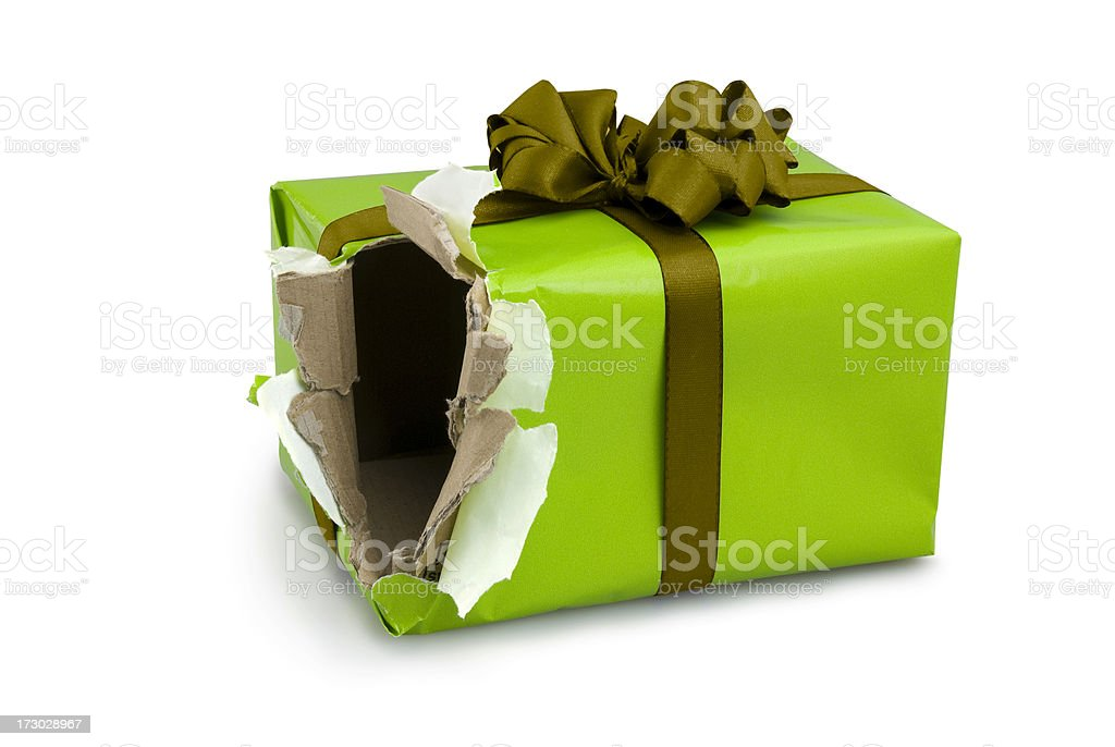 Christmas gift. Open Present Box Torn Green Shopping Damaged stock photo