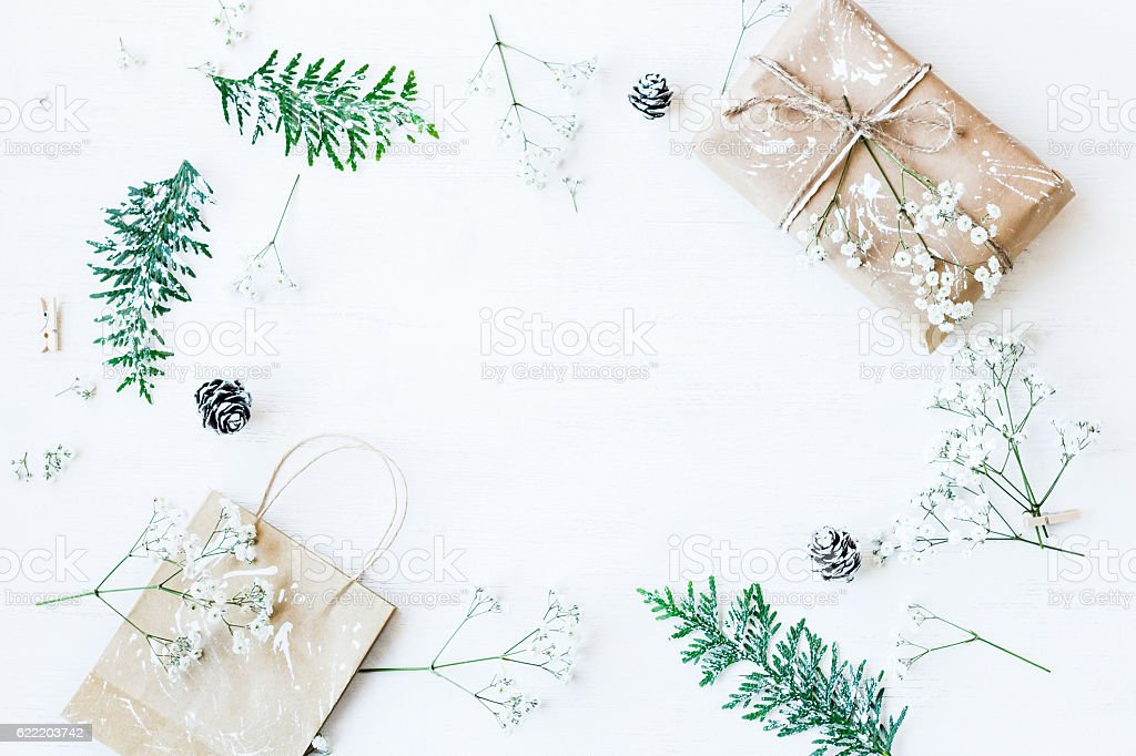 Christmas gift, pine cones, thuja branches and gypsophila flowers - foto de stock