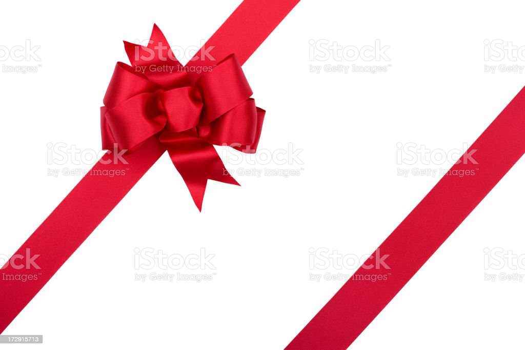 Christmas Gift Red Bow Isolated on White with Clipping Path PIne cones and pine needles on a white background with copyspace. Celebration Event Stock Photo