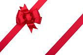クリスマスギフトレッドのリボン白で分離、クリッピングパス