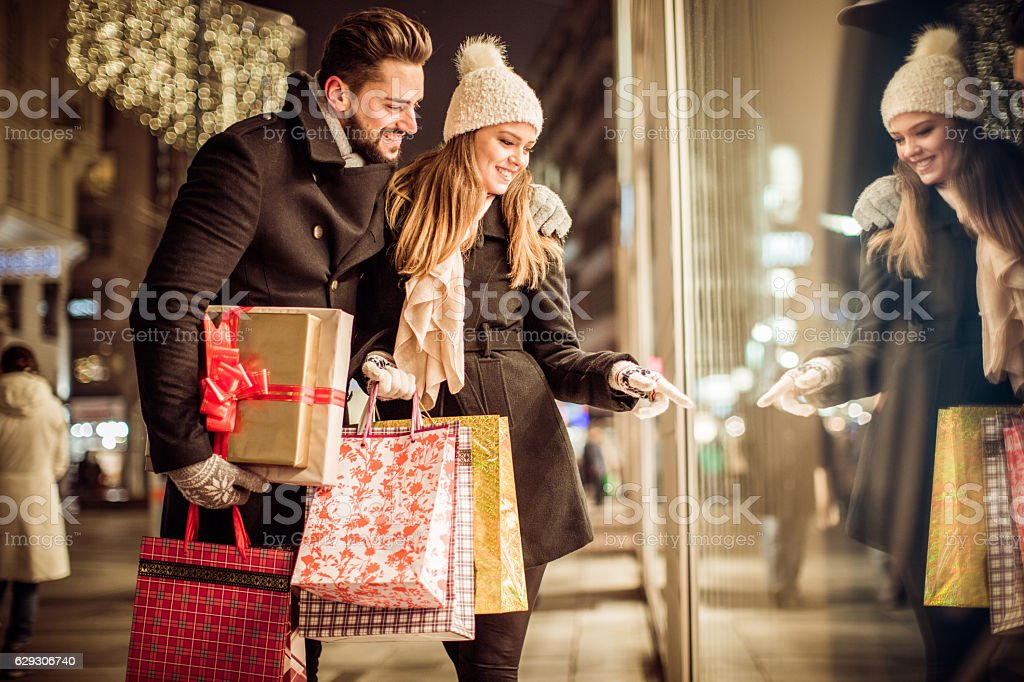 Christmas gift shopping stock photo