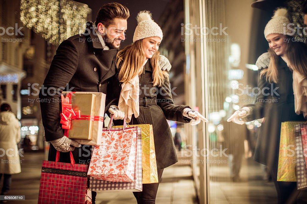 Christmas gift shopping stock photo
