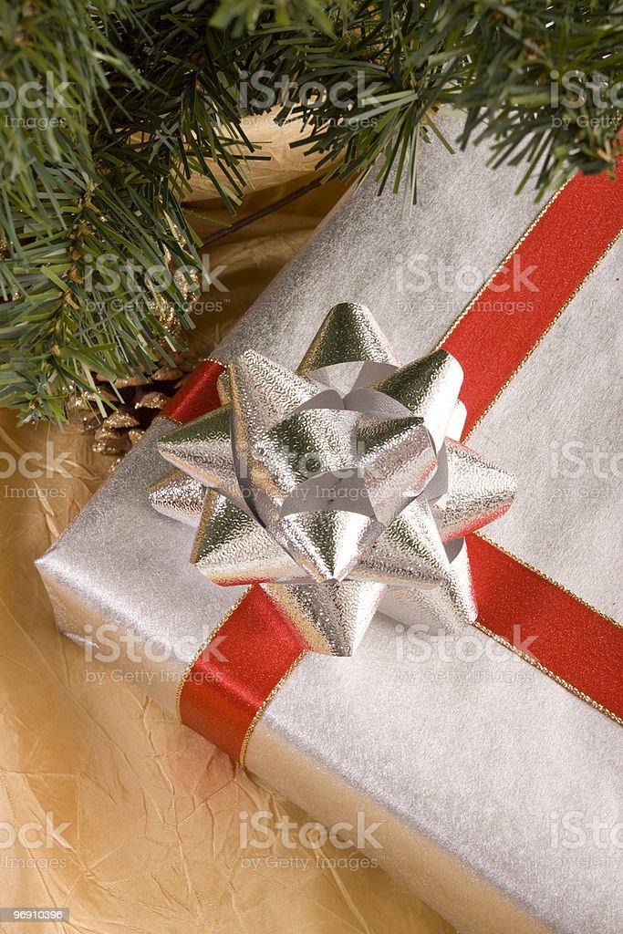 Christmas gift under tree royalty-free stock photo