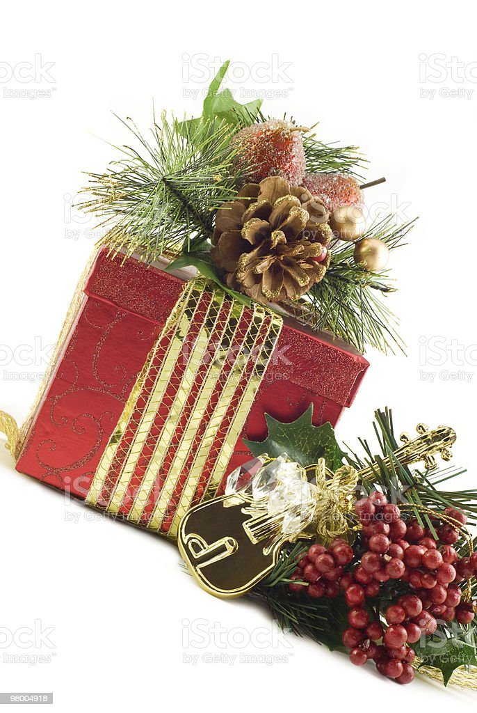 Christmas Gift with Decorations royalty free stockfoto