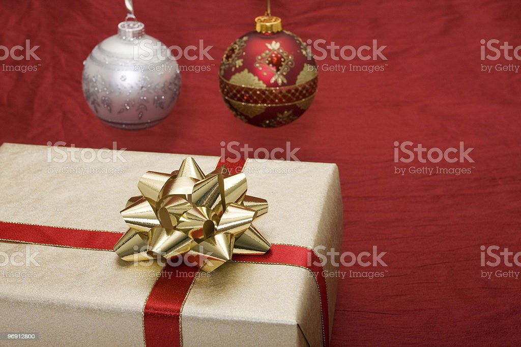 Christmas gift with ornaments royalty-free stock photo