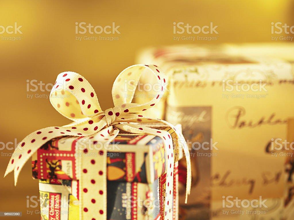 Christmas gift with polka dot ribbon royalty-free stock photo