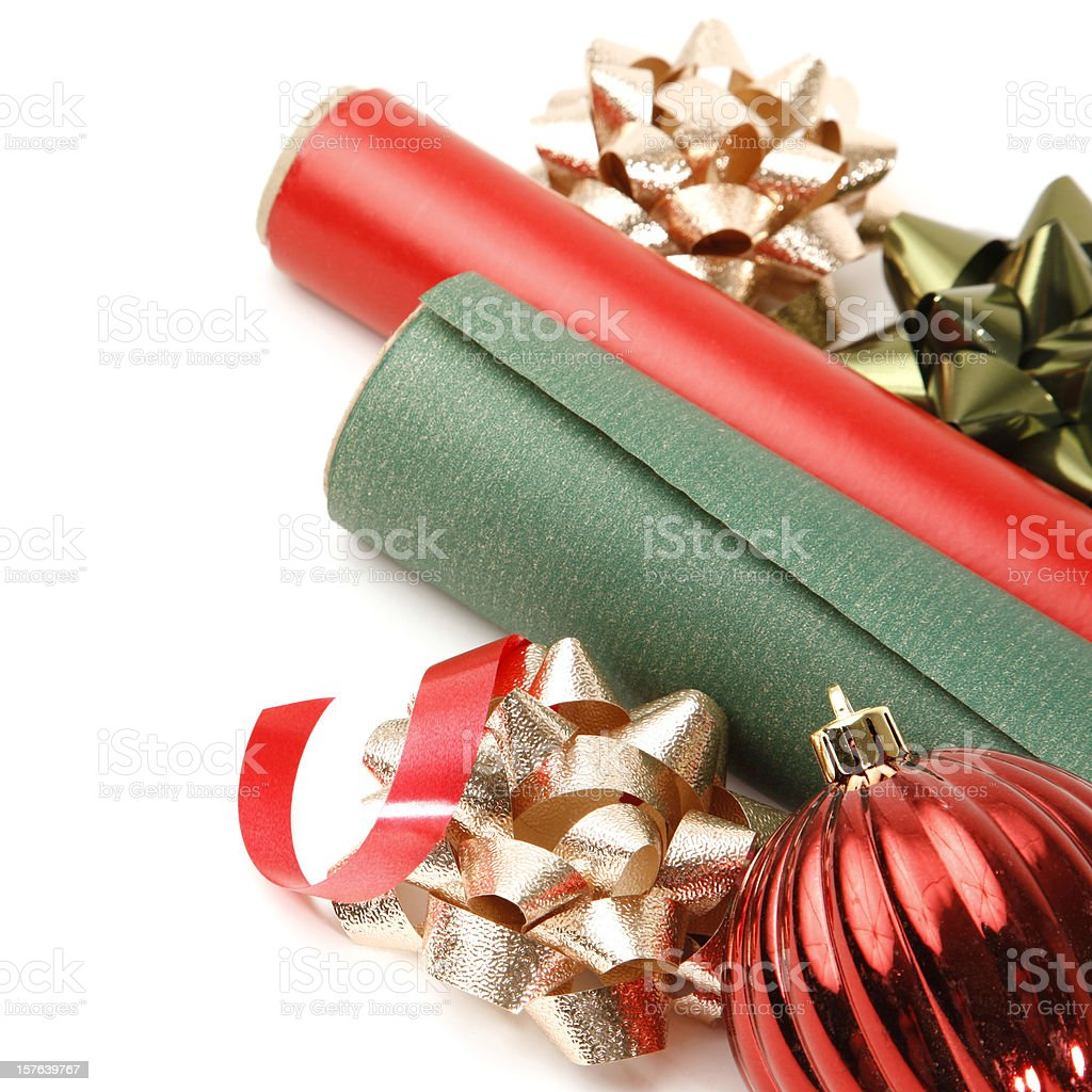 Christmas Gift Wrap Wrapping Paper Bows and Ornament royalty-free stock photo