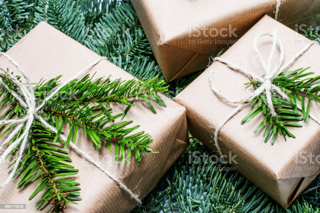 christmas gift. Xmas gifts on wooden background. christmas presents...