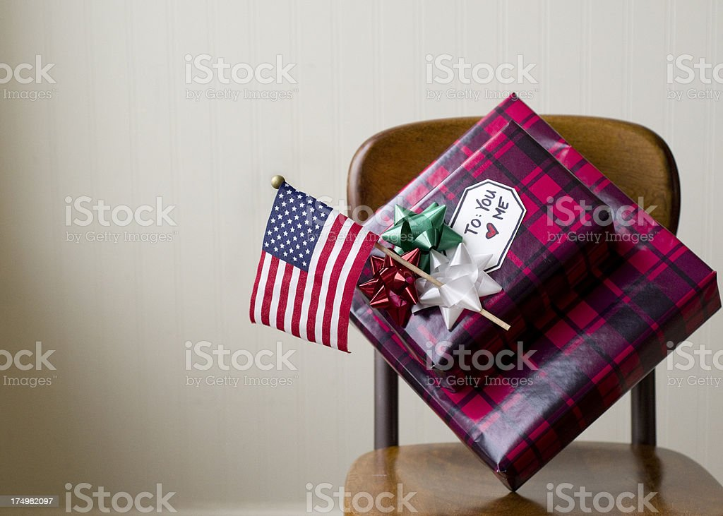 Christmas gifts and a flag stock photo