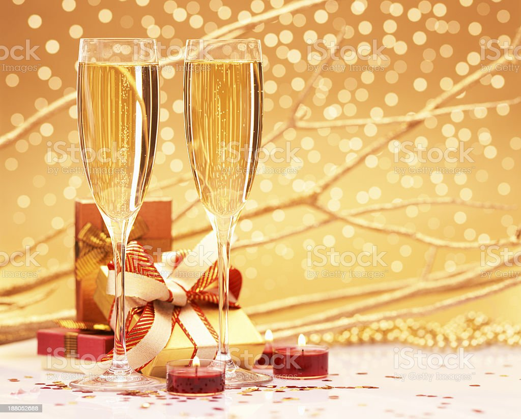 Christmas gifts and champagne royalty-free stock photo
