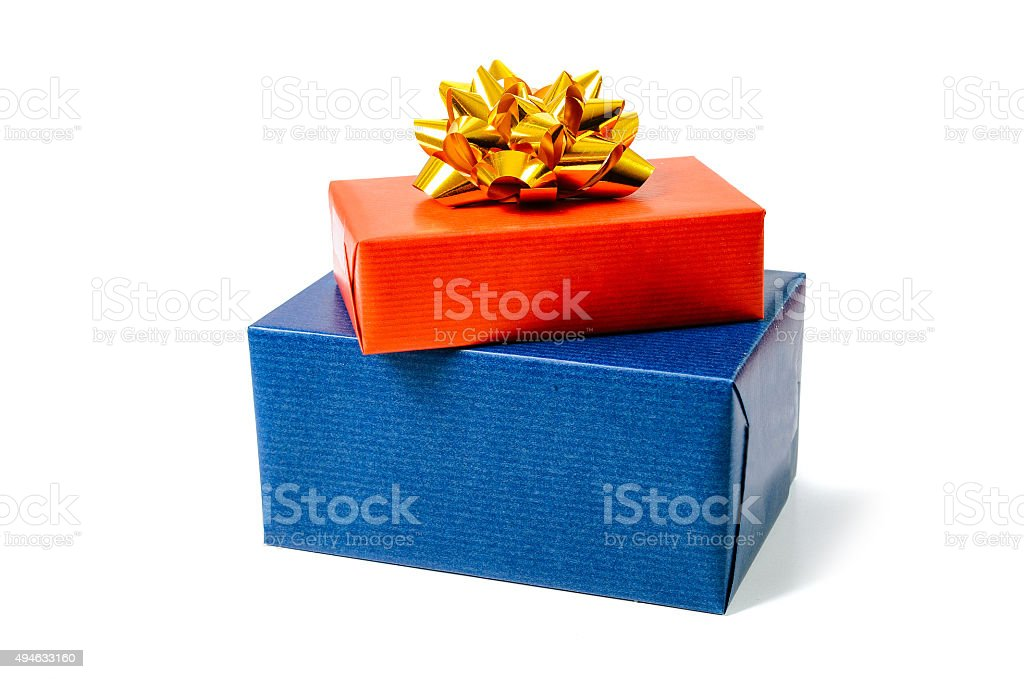Christmas gifts and gift boxes on isolated background stock photo